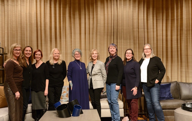 Women in Games exhibit speakers at The Strong Museum: (left to right) Megan Gaiser, Bonnie Ross, Jen MacClean, Dona Bailey, Brenda Laurel, Susan Jaekel, Sheri Graner Ray, Victoria Van Voorhis, and Amy Hennig.