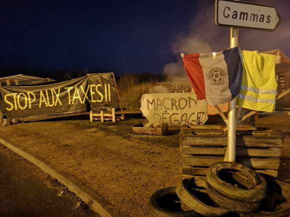 A 'Gilets Jaunes' protest near Gaillac, France.