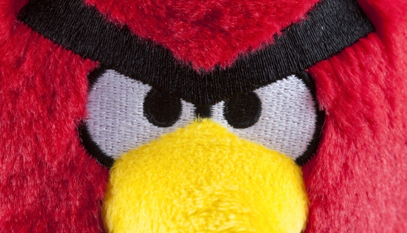 Red Angry Birds soft toy. Angry Birds is developed by Rovio