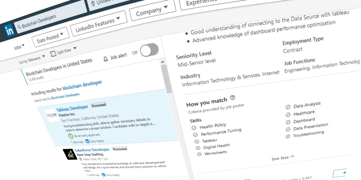 Blockchain developer search on LinkedIn