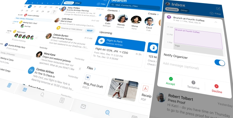 New Outlook app for iOS
