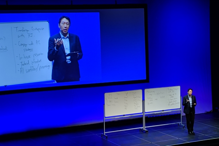 Google Brain cofounder and former Baidu AI chief scientist Andrew Ng onstage at the Samsung CEO Conference in San Francisco, California