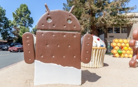 Mountain View, California, USA - March 28, 2018: Android ice cream sandwich statue at Google Visitor Center Beta.