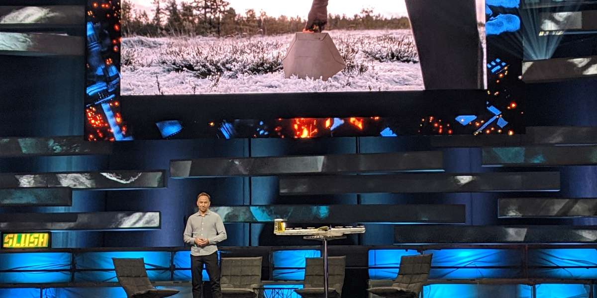 Wing CEO James Burgess onstage at Slush in Helsinki, Finland on Dec. 4, 2018