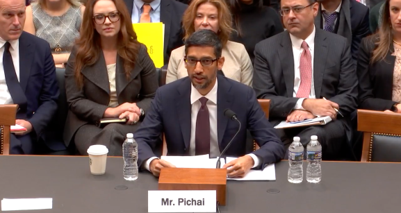 Google CEO Sundar Pichai testifies in front of the House Judiciary Committee.