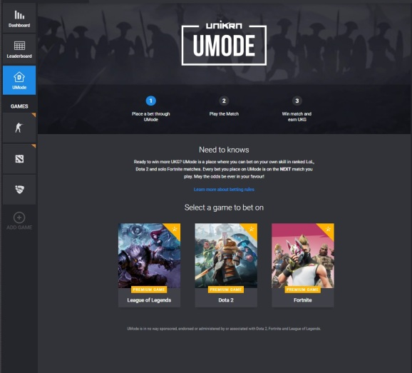 Unikrn's Umode lets you get on games.