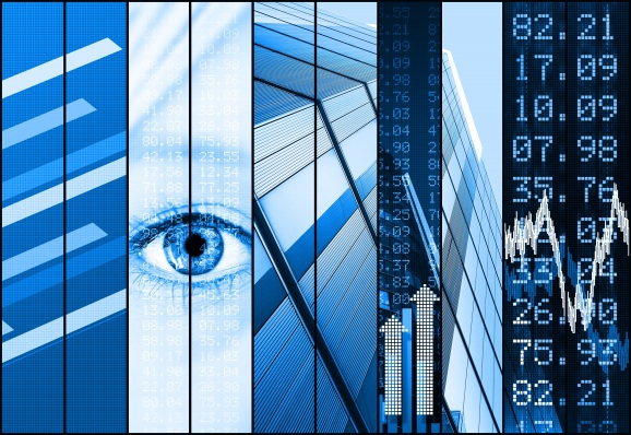 Blue financial stock market collage