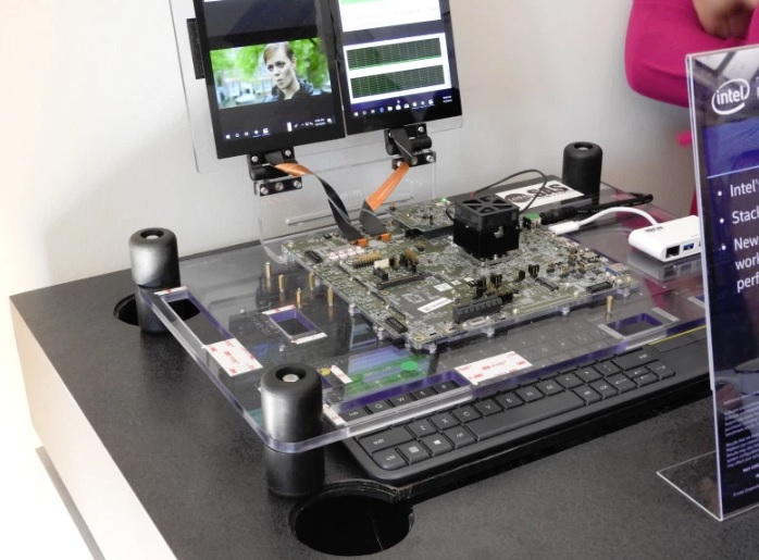 A demo of Intel's Foveros 3D chip stacking technology.