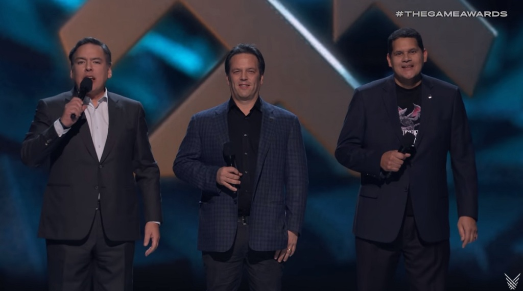 Shawn Layden (left) of Sony, Phil Spencer of Xbox, and Reggie Fils-Aime