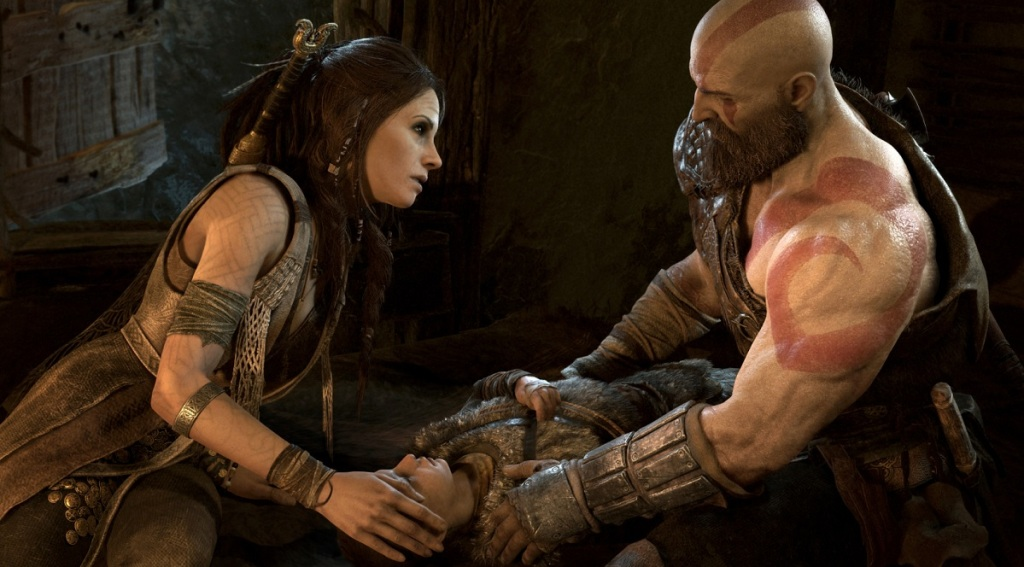 Freya and Kratos with a sickly Atreus in God of War.
