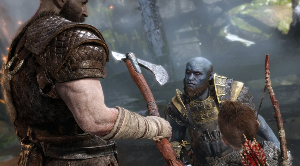 The blue dwarf provides comic relief in God of War.