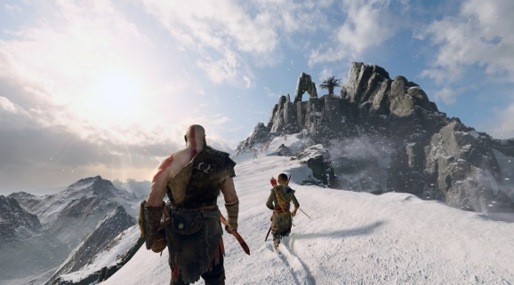 Approaching the mountaintop in God of War.