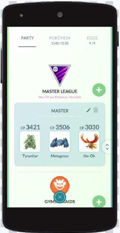 Pokémon Go's Master League has no limits on CP levels for battles.