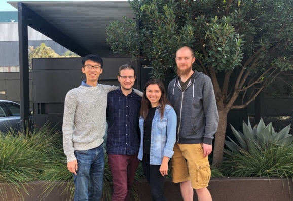 Revlo team. Left to right, James Sun (Co-Founder & CEO), Adam Hueniken (Co-Founder & Head of Engineering), Julie Topp (Co-Founder & Head of Product) and Fraser Le Ber (Software Engineer).