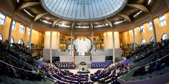 German Chancellor Angela Merkel addresses the lower house of parliament Bundestag in Berlin, Germany.