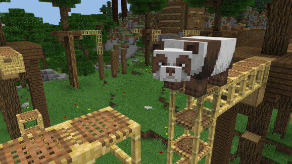 A panda bear in Minecraft.