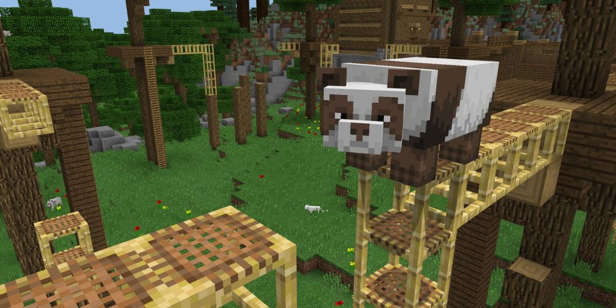 A panda bear in Minecraft.