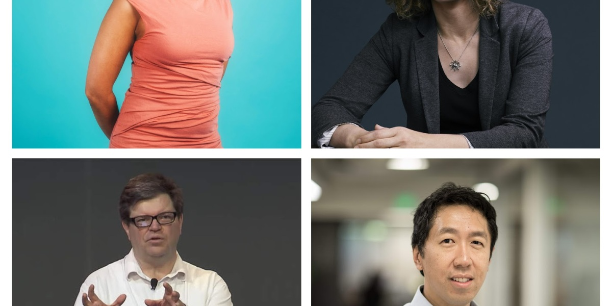 Left to right: Cloudera machine learning general manager Hilary Mason, Accenture global responsible AI lead Rumman Chowdhury, Facebook AI Research director Yann LeCun, and Google Brain cofounder Andrew Ng