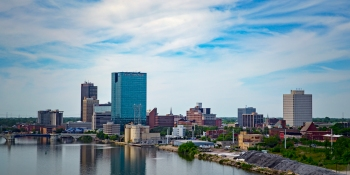 Looking down the Maumee River, from an elevated view, we have T