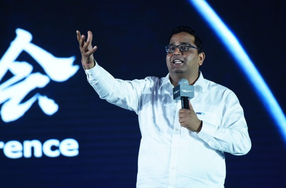 HANGZHOU, CHINA - JULY 11:  Paytm founder Vijay Sharma makes a speech at 2017 Global Netreprenuer Conference on July 11, 2017 in Hangzhou, Zhejiang Province of China.  (Photo by )