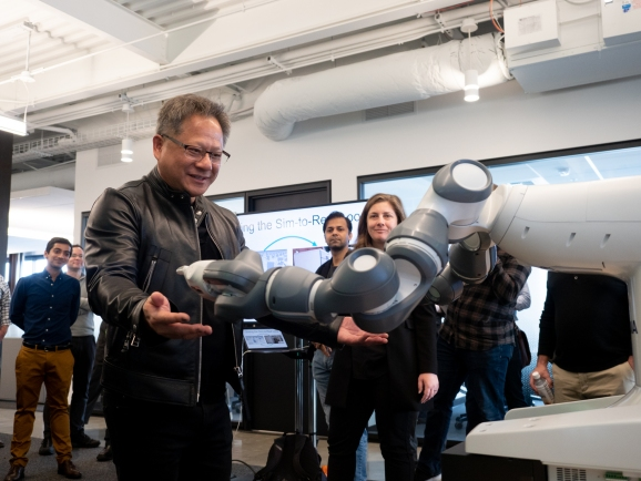 Nvidia CEO Jensen Huang at the new robotics research lab in Seattle, Washington