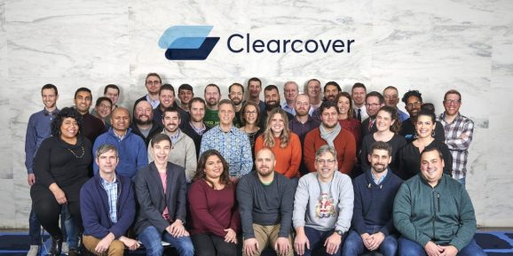 Clearcover employees at the company's Chicago headquarters.