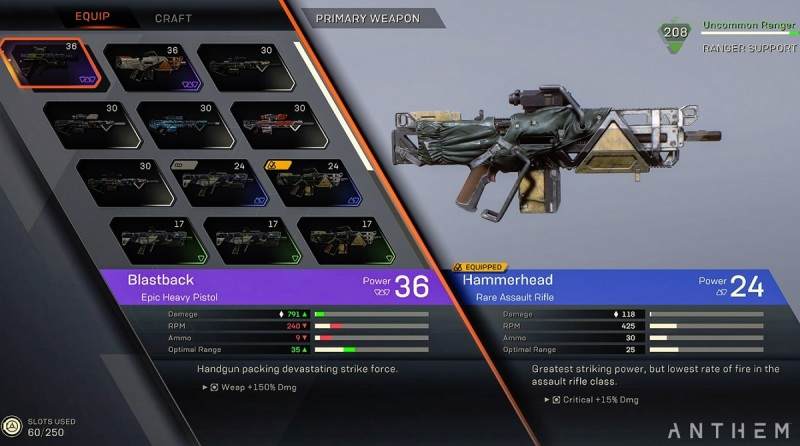 Anthem's customizable weapons.