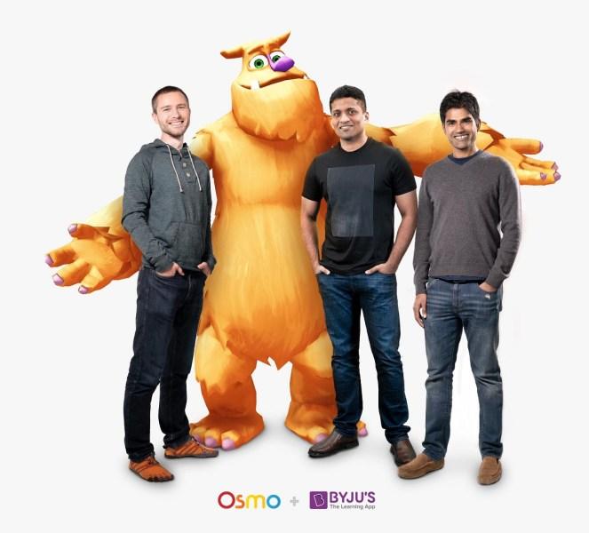 Osmo CTO Jeremo (left), Byju CEO Byju Raveedran, and Osmo CEO Pramod Sharma.