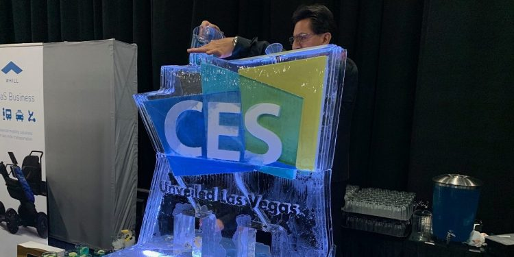 The ice sculpture at CES Unveiled, 2019.