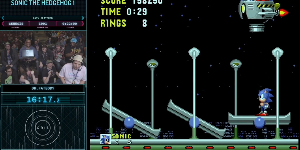 Dr. Fatbody plays Sonic the Hedgehog at Games Done Quick.