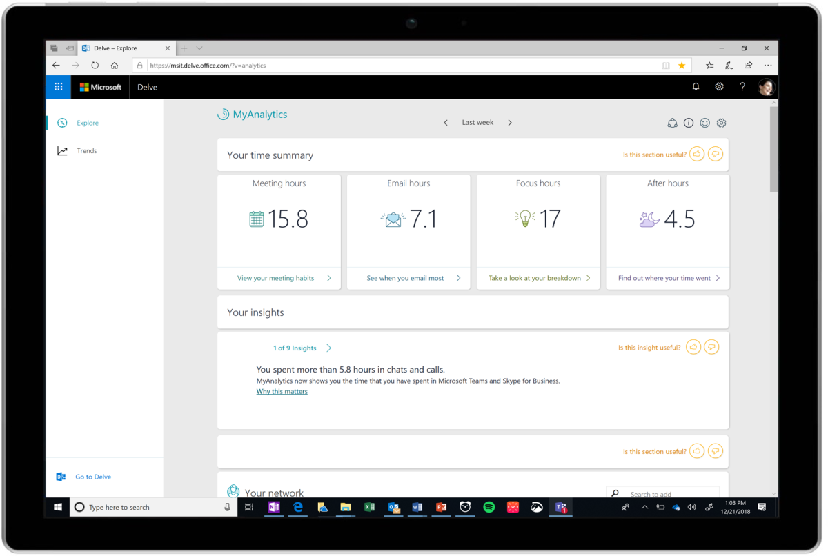 Microsoft expands MyAnalytics work tracker to all Office 365 users