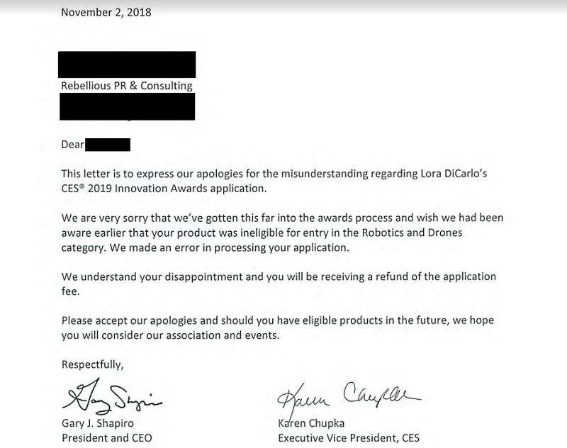 Letter from CTA to Lora DiCarlo.