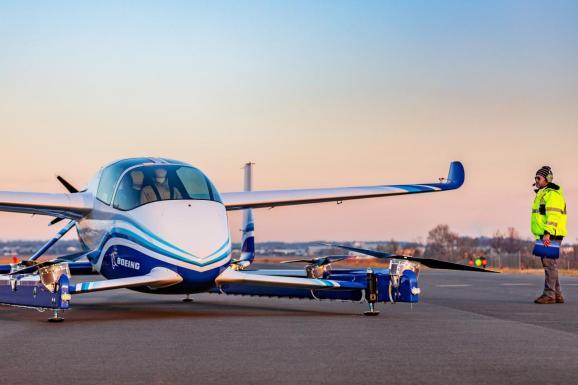 Boeing's Autonomous Passenger Air Vehicle (PAV) prototype is shown during an inaugural test flight, in Manassas, Virginia, U.S., January 22, 2019.