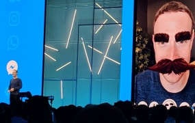 Facebook CEO Mark Zuckerberg shows AR Camera Effects Platform with mustache shenanigans at F8 2018