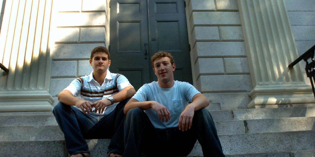 CAMBRIDGE - NOVEMBER 12: Founder of Facebook.com Mark Zuckerberg, right, and Dustin Moscovitz, co-founder, left; have their photo taken at Harvard Yard. The two are students at Harvard University who are taking the semester off. (Photo by Justine Hunt/The Boston Globe via Getty Images)