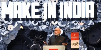 Indian Prime Minister Narendra Modi speaks during the official opening of the Hannover Messe industrial trade fair in Hanover, central Germany on April 12, 2015.