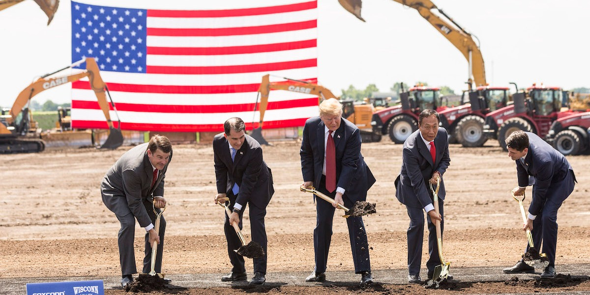 President Donald Trump and Foxconn's Terry Gou at a groundbreaking for its Wisconsin factory.