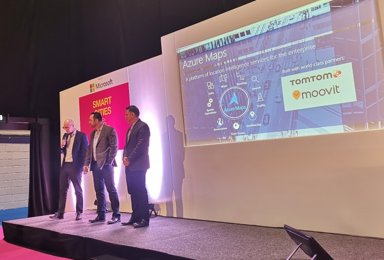 TomTom, Microsoft, and Moovit on stage at Move 2019 (London)