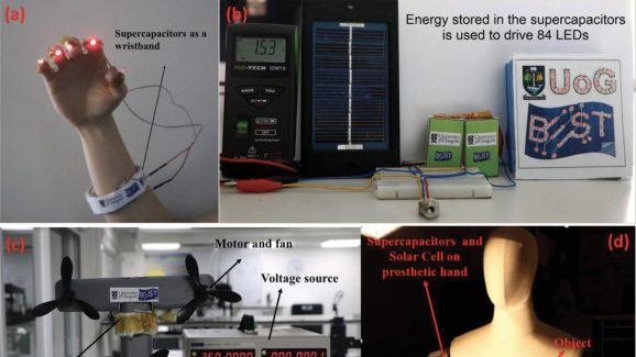 Graphene supercapacitors use the sun to power advanced wearables