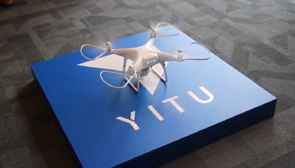 A still shot from Yitu's Singapore expansion announcement video. The company is showing off AI identity-recognition via drone.