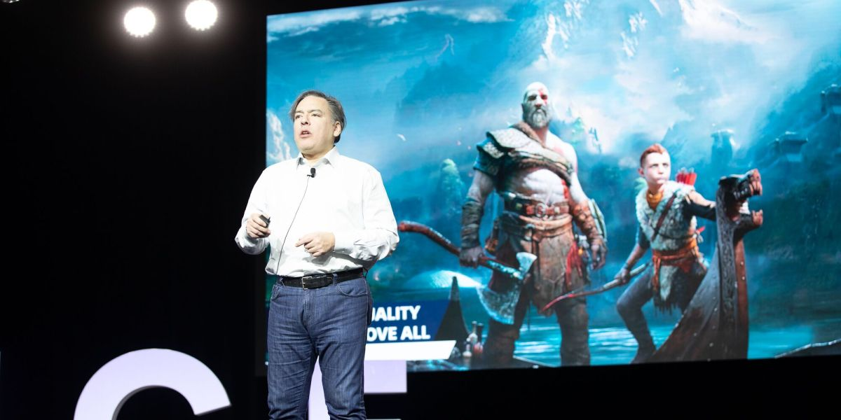 Shawn Layden of Sony gives an inspiring talk at the DICE Summit 2019.