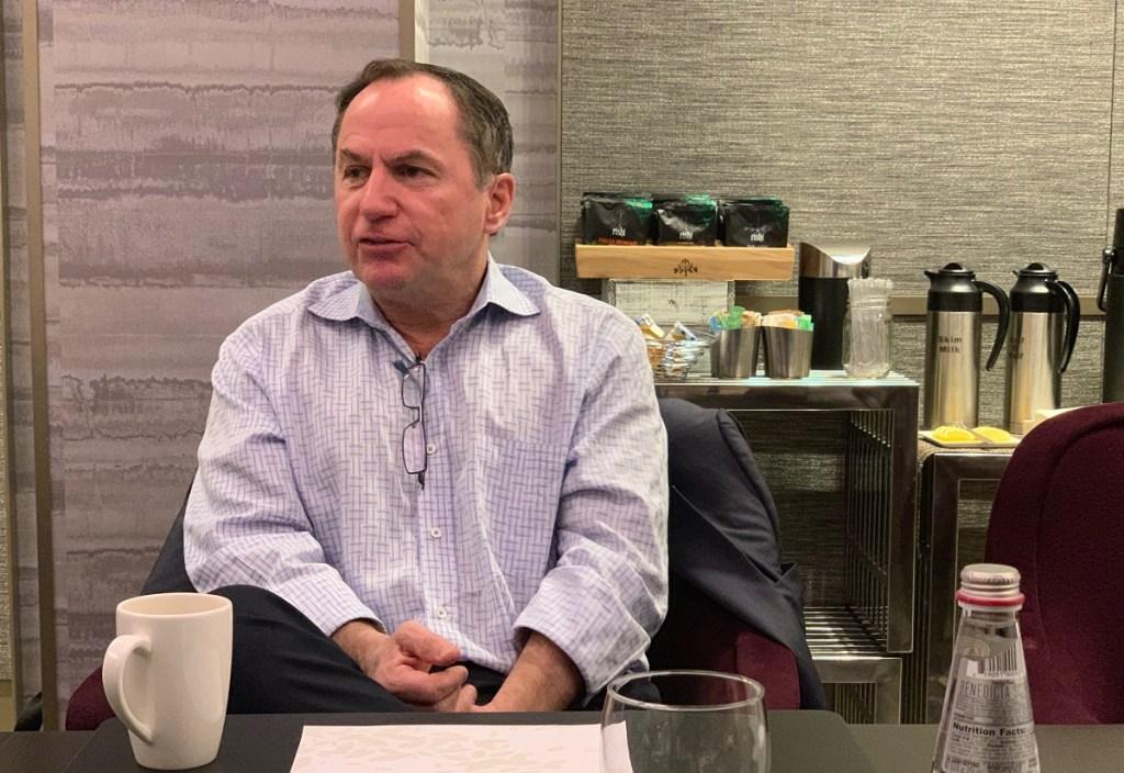 Intel CEO Bob Swan speaks with reporters in Palo Alto, California.