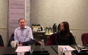 Intel CEO Bob Swan and senior vice president of network platforms Sandra Rivera.