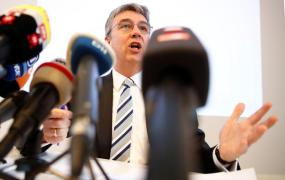Andreas Mundt, president of Germany's Federal Cartel Office addresses a news conference presenting findings of the anti-trust watchdog's investigation into Facebook's data collection practices in Bonn, Germany, February 7, 2019.