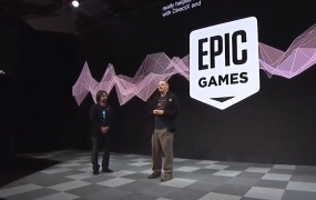 Tim Sweeney, CEO of Epic Games, on stage at MWC with Alex Kipman of Microsoft.