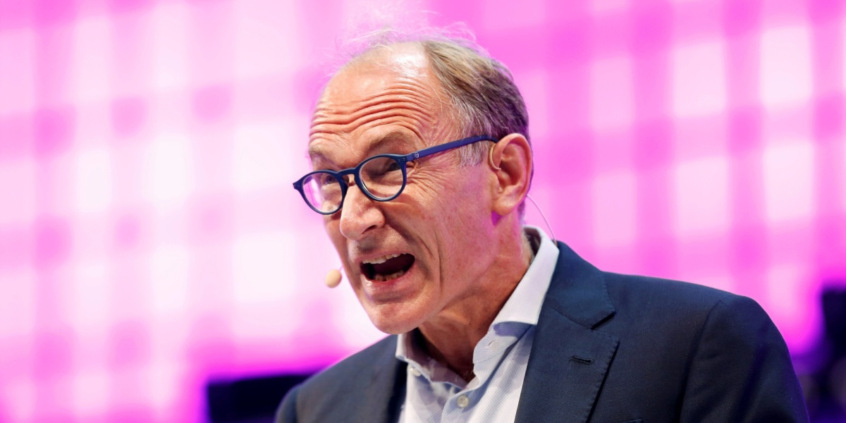 World Wide Web inventor Sir Tim Berners-Lee speaks during the inauguration of Web Summit