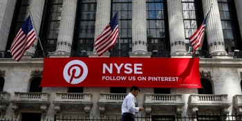 A Pinterest banner hangs on the facade of the New York Stock Exchange (NYSE)