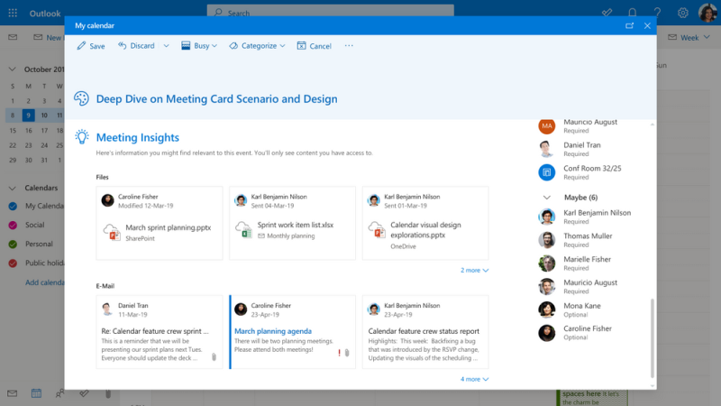 Microsoft Outlook meeting insights