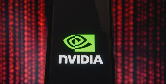 Nvidia logo is seen on an android mobile phone.