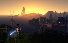 Sunset in Outward's Ciezo, with a better set of gear that I've ever found so far!